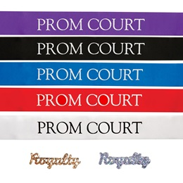 Prom Court Ribbon Sash with Pin Set