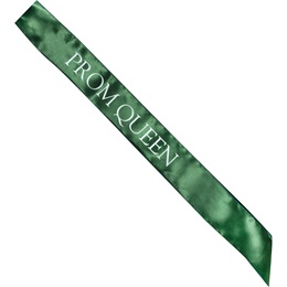 Satin Prom Queen Sash - Green and White
