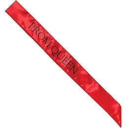Satin Prom Queen Sash - Red and Black