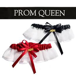 Prom Queen Sash and Garter Set - Black/White