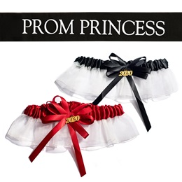 Prom Princess Sash and Garter Set - Black/White