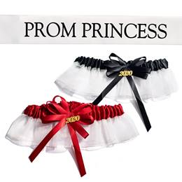 Prom Princess Sash and Garter Set - White/Black