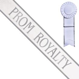 White Prom Royalty Sash, Silver Print