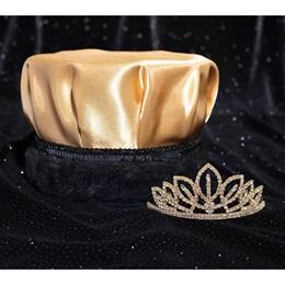 Gold/Black Satin Crown and Gold Toni Tiara Set