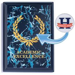 Blue Award Plaque With Sticker - Academic Excellence