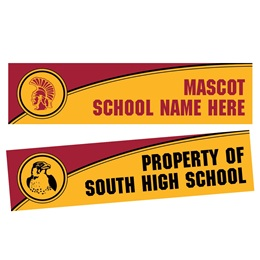 Curved Stripe Rectangle Bumper Magnet - Maroon/Gold