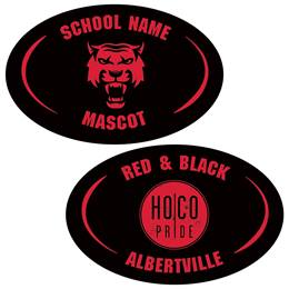 One Side Arch Oval Magnet - Red and Black