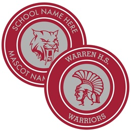 Two Rings Round Bumper Magnet - Maroon and White