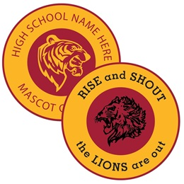 Single Stripe Round Bumper Magnet - Maroon and Gold