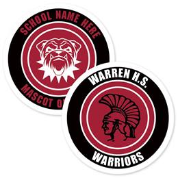 Three Rings Round Bumper Magnet-Maroon and White