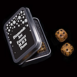Gold Dice Set with Metal Case