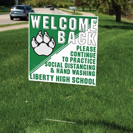 Welcome Back Paw Yard Sign