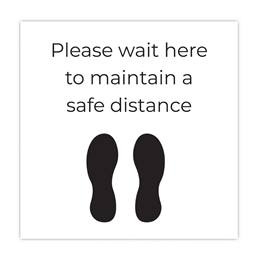 Floor Decal - Please Wait Here to Maintain a Safe Social Distance