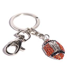Bling Football Key Chain - Orange and Black