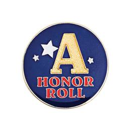 Honor Roll Award Pin - Gold A With Stars