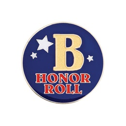 B Honor Roll Award Pin - Blue With Stars