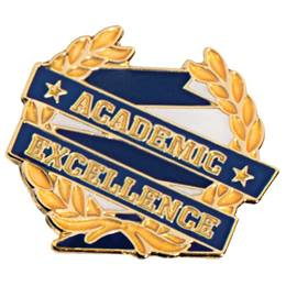 Academic Excellence Award Pin - Blue with Gold Wreath