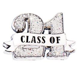 Class of '21 White Ribbon Glitter Pin
