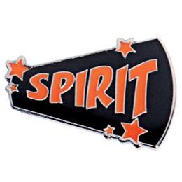 Megaphone Spirit Pin - Orange and Black