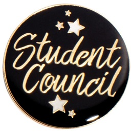 Student Council Award Pin - Black with Stars