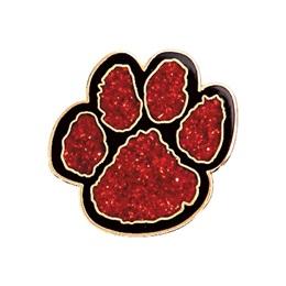 Glitter Paw Award Pin – Red/Black
