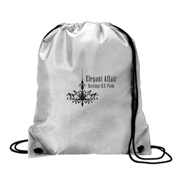 Metallic Silver Drawstring Bag