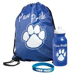 Paw Pride Bag, Bottle, and Wristband Set - Blue/White