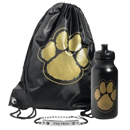 Paw Bag, Bottle, and Wristband Set - Black/Gold