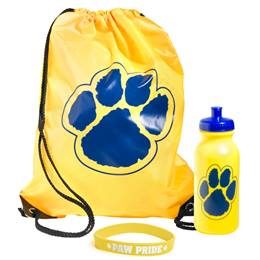 Paw Bag, Bottle, and Wristband Set - Yellow/Blue