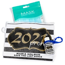 Full-color Travel Pouch With Mask and Hand Sanitizer - Gold Glitter Prom
