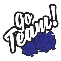Go Team/Blue Poms Temporary Tattoos