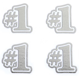 Silver #1 Metallic Temporary Tattoos