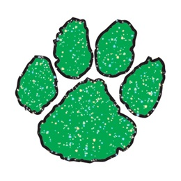 Paw Temporary Tattoo - Green Glitter