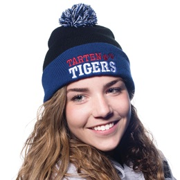 Cuffed Knit Beanie Hat With Pom