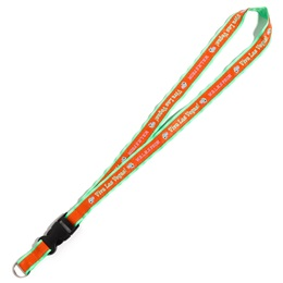 Neon Ribbon-edged Lanyard with Detachable Buckle