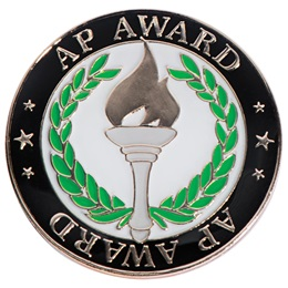 AP Award Pin with Torch and Laurels