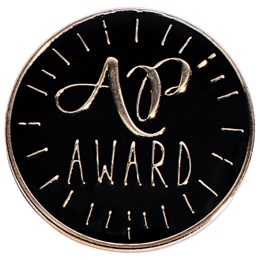 AP Award Pin with Gold and Black Design