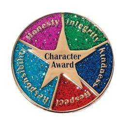 Character Award Pin - Gold Star/Glitter