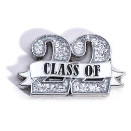 Class of '22 White Ribbon Glitter Pin