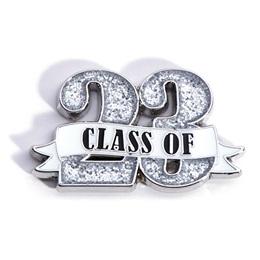 Class of '23 White Ribbon Glitter Pin