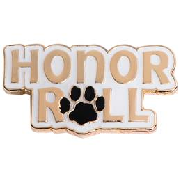 Honor Roll Award Pin - Gold With Black Paw
