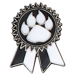 Sunflower Ribbon Lapel Pin - Black and White/Paw