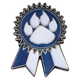 Sunflower Ribbon Lapel Pin - Blue and White/Paw