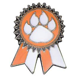 Sunflower Ribbon Lapel Pin - Orange and White/Paw