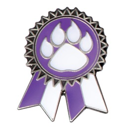 Sunflower Ribbon Lapel Pin - Purple and White/Paw