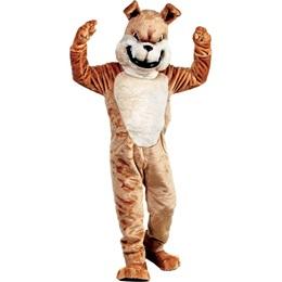 Friendly Tan Bulldog Mascot Costume