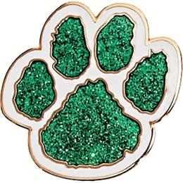 Glitter Paw Print Award Pin, Green and White
