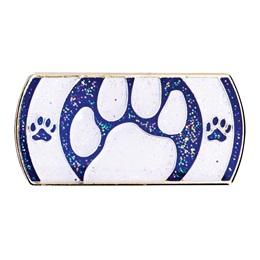 White and Blue Peek-A-Boo Paw Award Pin