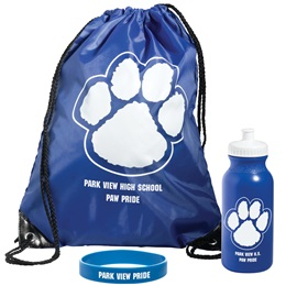 Custom Paw Backpack/Water Bottle/Wristband Award Set
