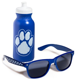 Paw Print Sunglasses & Water Bottle Set - Blue and White